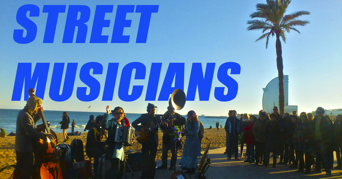 Уличные музыканты города Барселона