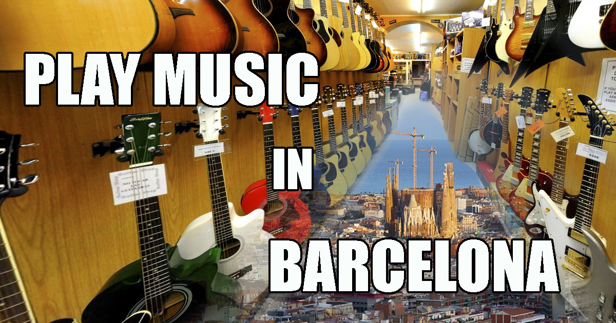 Playing a musical instrument in Barcelona