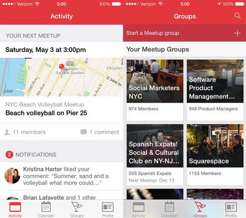 Meetup group apps
