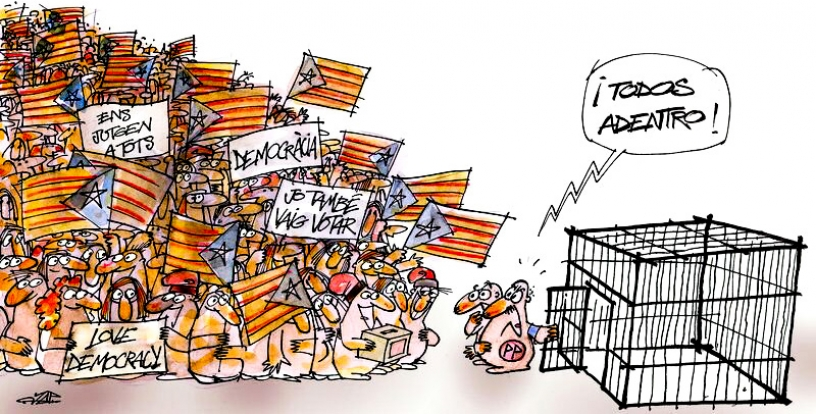 Catalan crowd with Rajoy attempting to cage them