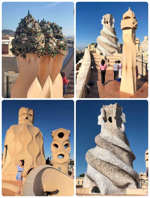 Collage dei camini sul tetto de La Pedrera