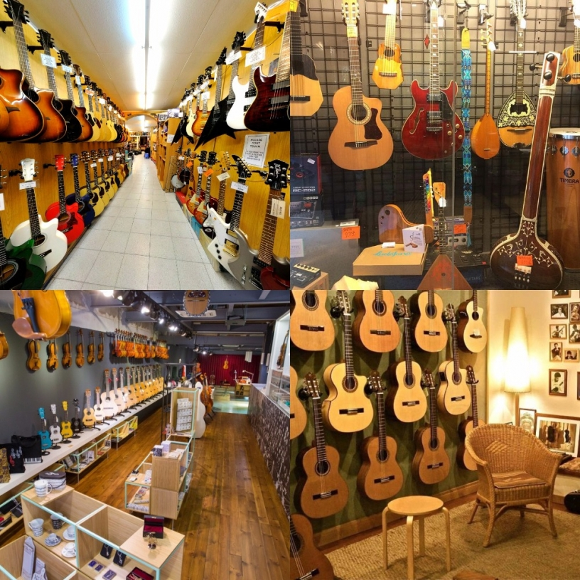 Four music shops in Barcelona