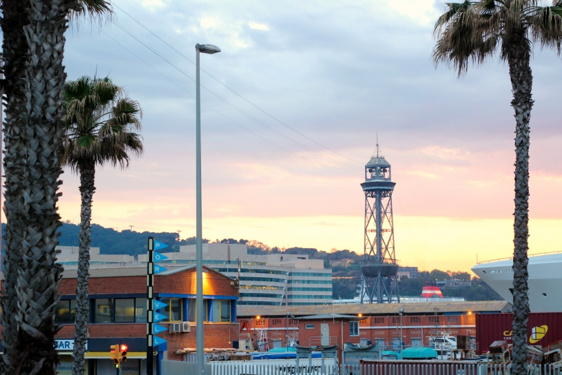 view from barceloneta on funicular and palms