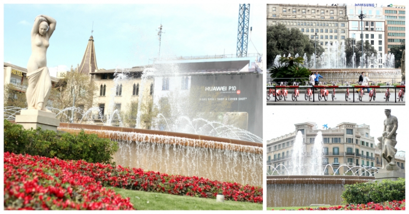 Fountains on Plaça de Catalunya