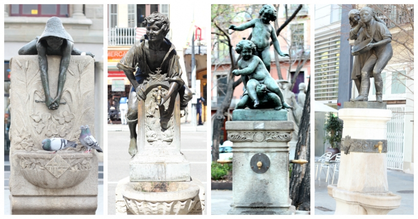 Fountains in Eixample: La Granota, El Trinxa, La Tortuga, and La Palangana