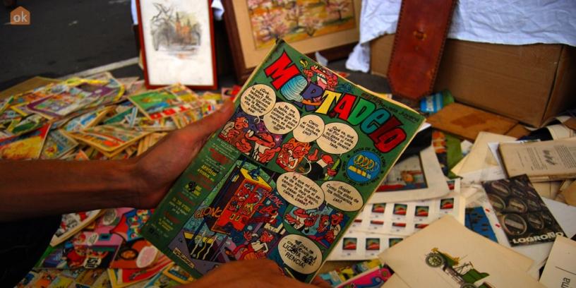 Venta de comics en los Encants de Barcelona