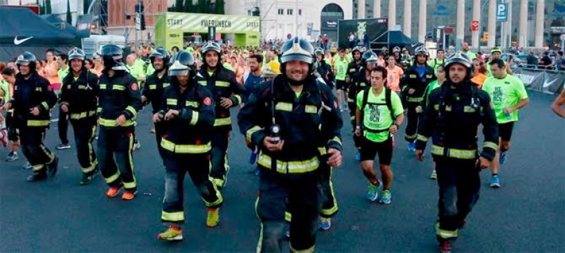 Firefighters running in Barcelona