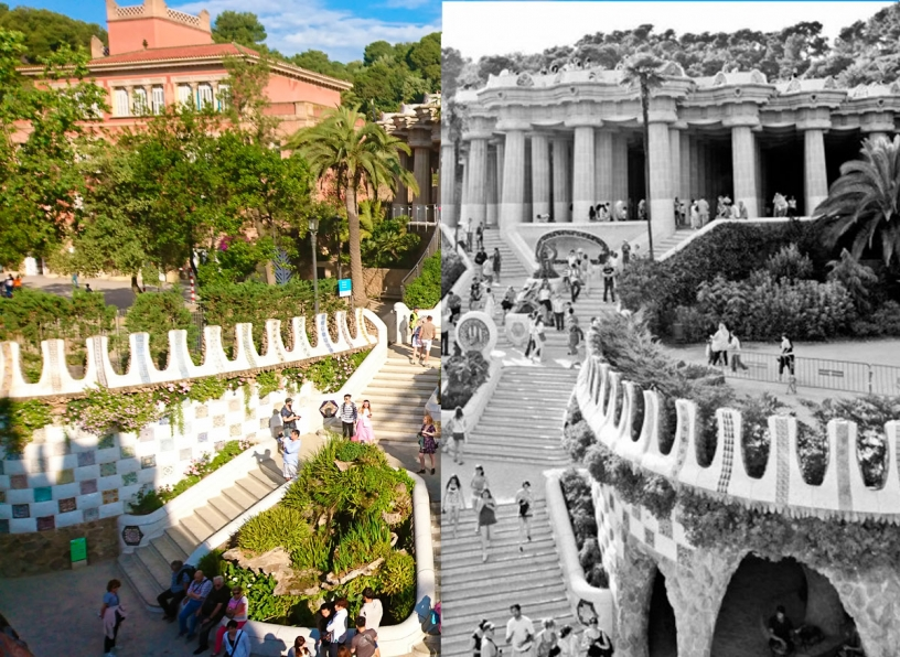 Pictures representing the before and after Park Güell