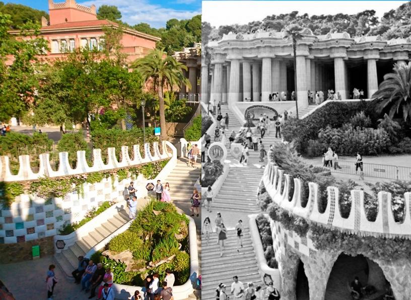 Foto del antes y después del Park Güell