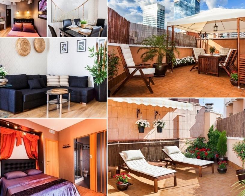 Apartamento de vacaciones en Barcelona con terraza y habitaciones con aire acondicionado