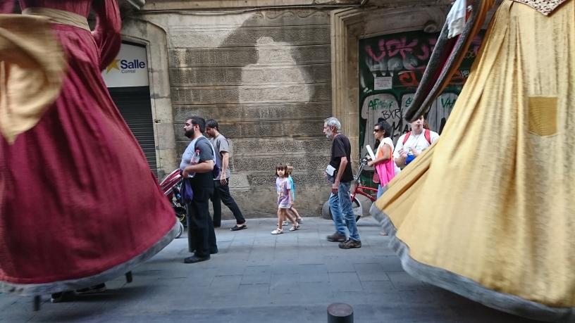 Gigantes en el Casco Antiguo de Barcelona