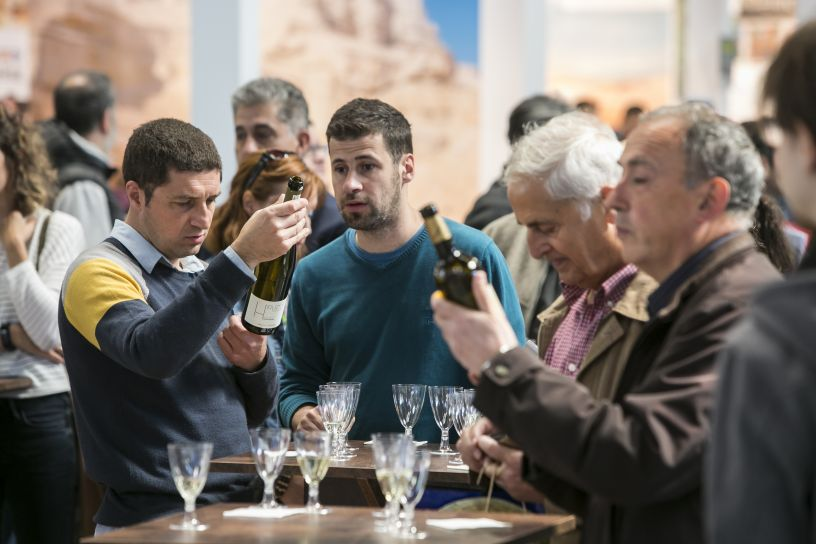 The visitors trying the wine on offer