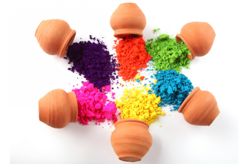 Coloured powder used to spray at the festival