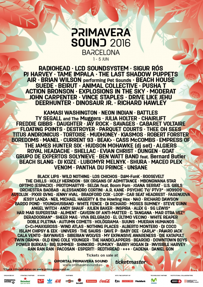 Official Primavera sound 2016 line-up poster