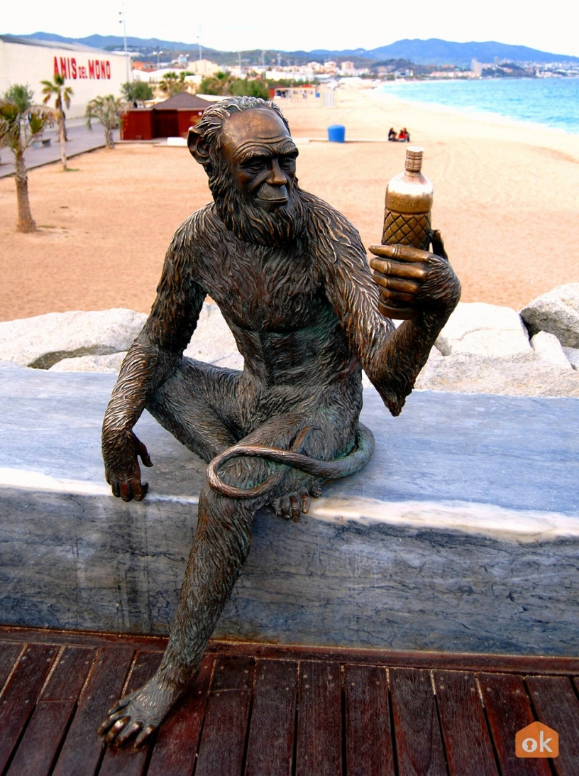Monkey statue around Badalona beach