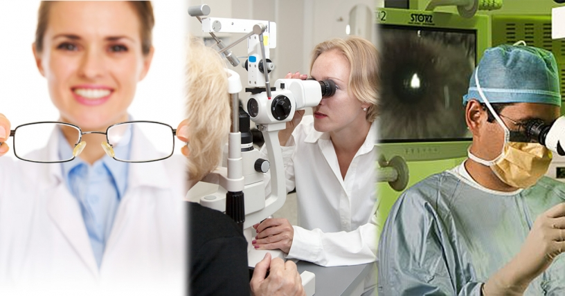 The difference between an optician, optometrist and ophthalmologist
