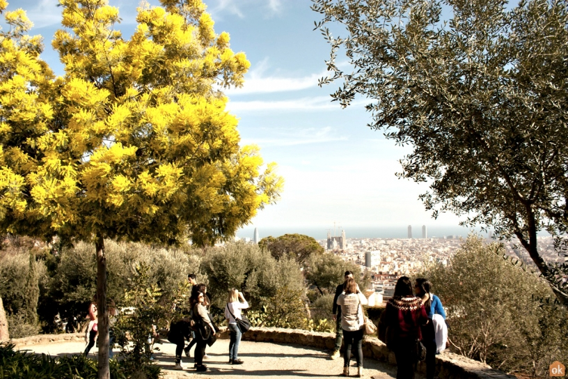 Les touristes au Park Güell