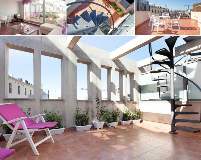 Apartamento con terraza doble con vistas sobre Barcelona