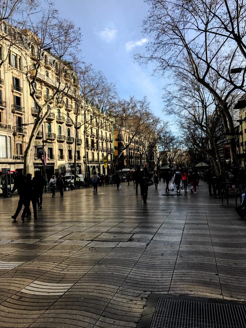 Pedestrian way Rambla Barcelona