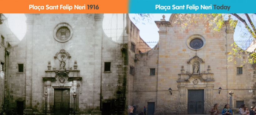 Before and after iglesia Sant Felip Neri