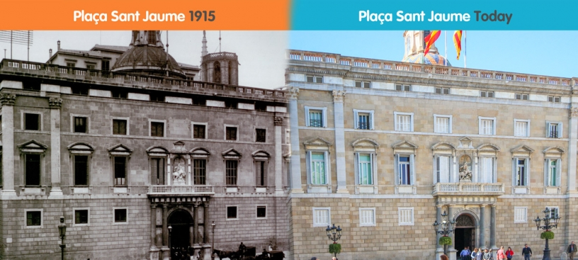 Before and after of Plaça Sant Jaume