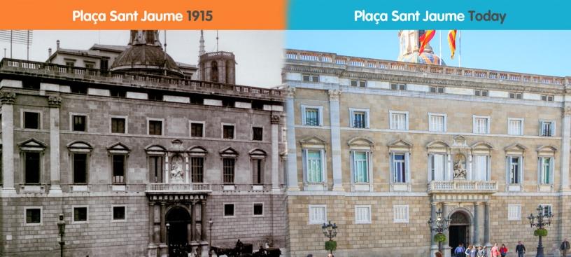 Vorher und nachher von Plaça Sant Jaume