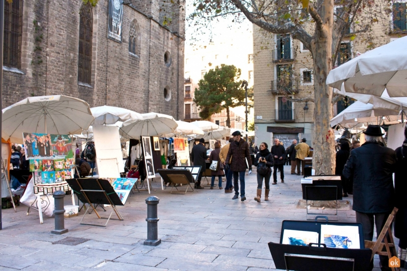 Plaça de Sant Josep Oriol en Barcelona