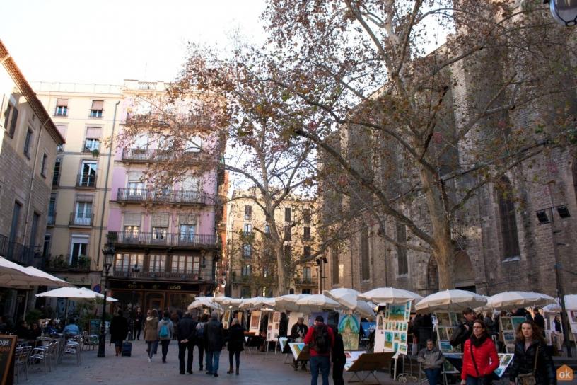 Площадь Sant Josep Oriol Барселона