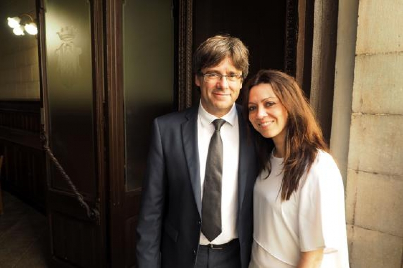 Carles Puigdemont en compagnie de sa femme