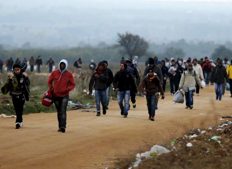 Refugees walking