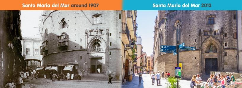 Foto de la antigua y la nueva Santa María del Mar
