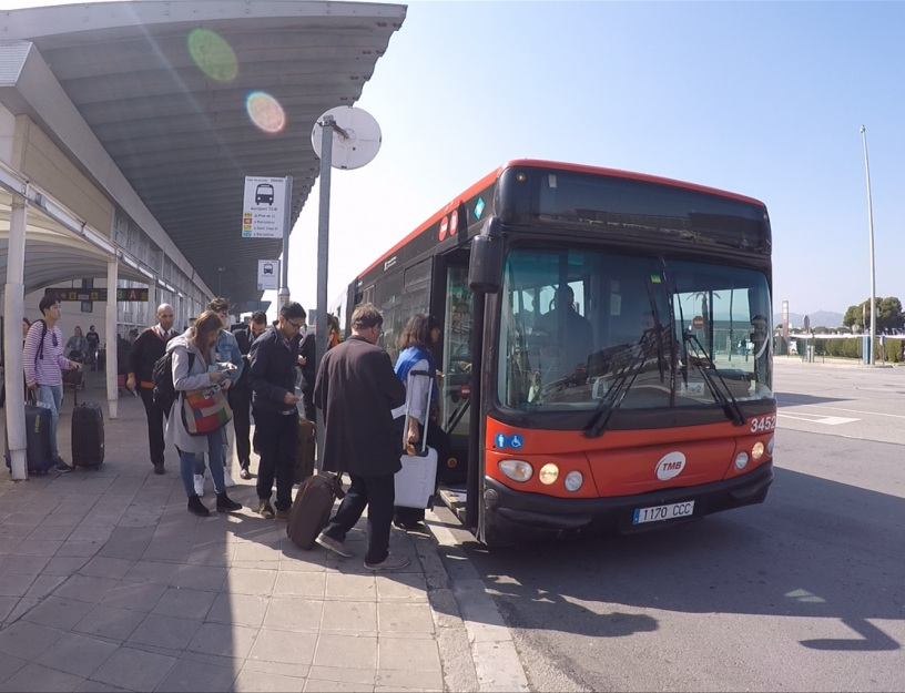 Barcelona's public 46 bus from the airport
