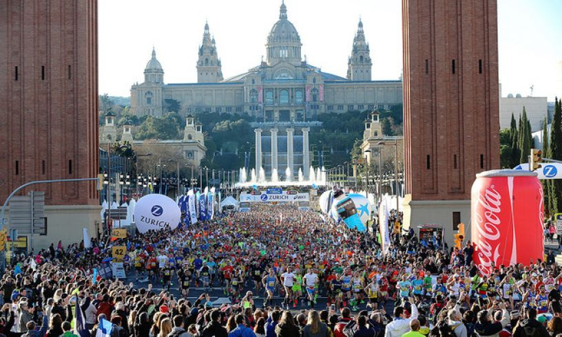 Runners in the Barcelona Marathon