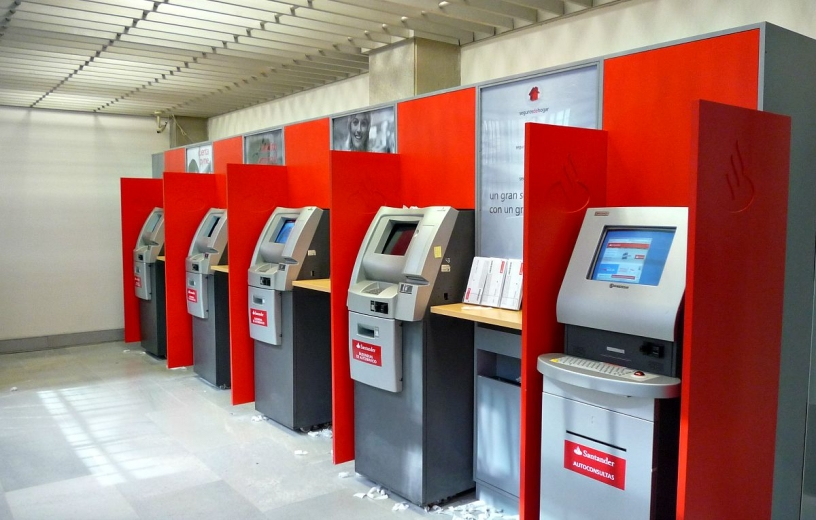 Cash machines at Santander in Barcelona