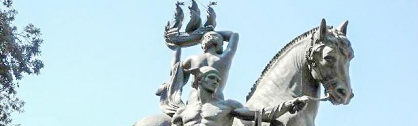 Escultura del dios Hermes en Plaza Catalunya, Barcelona