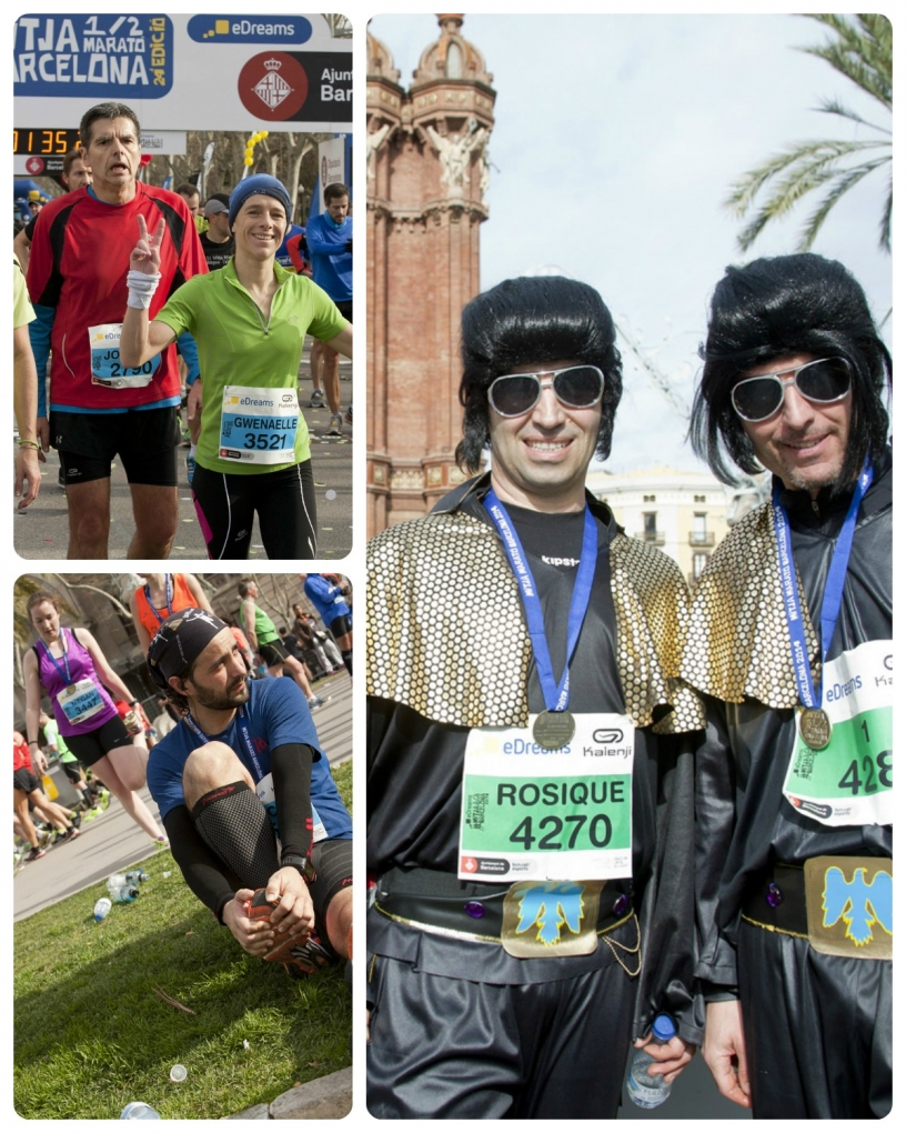 Half marathon Barcelona runners posing for photo
