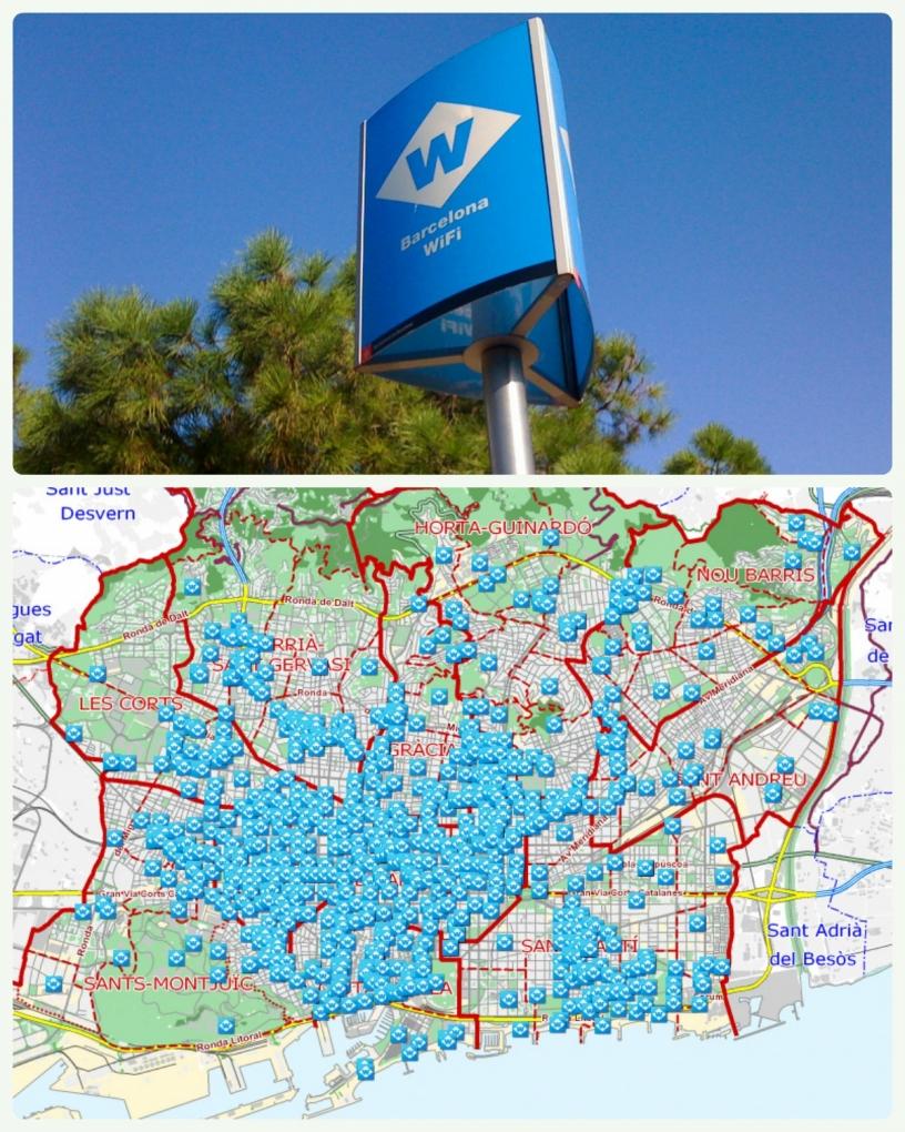 Public WiFi Hotspot mit Karte über Barcelona