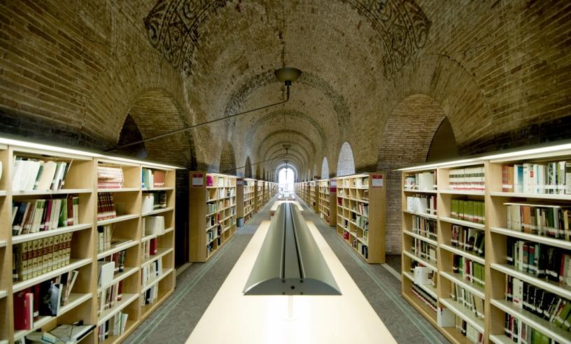 Книги и книжные полки библиотеки UPF
