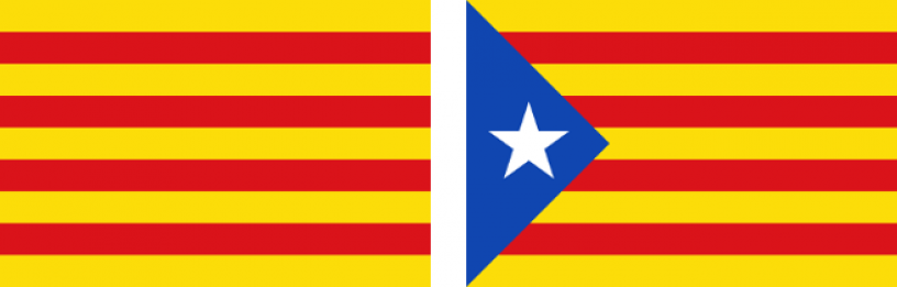 Two flags seen in Catalonia