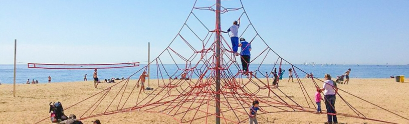 Climbing frame at Nova Icaria Beach