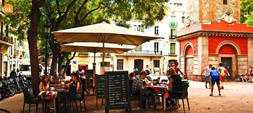 Restaurant Terrassen im Bezirk von Gràcia, Barcelona