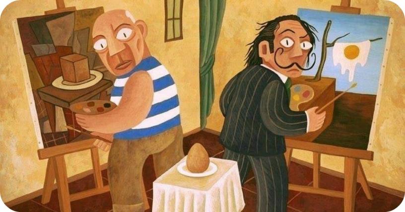 Picasso und Dalí malen ein Ei. Kusbismus und Surrealismus