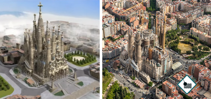 Aerial views of Sagrada Familia completed (2026?) And the year 2018