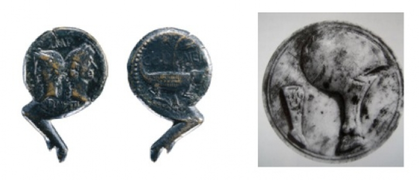 Emblemas y escudos romanos con jamón