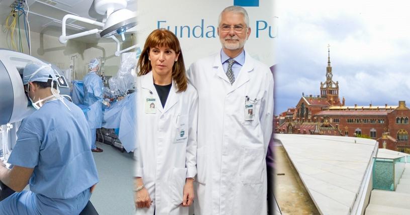Equipe médicale de la Fondation Puigvert et robot Da Vinci
