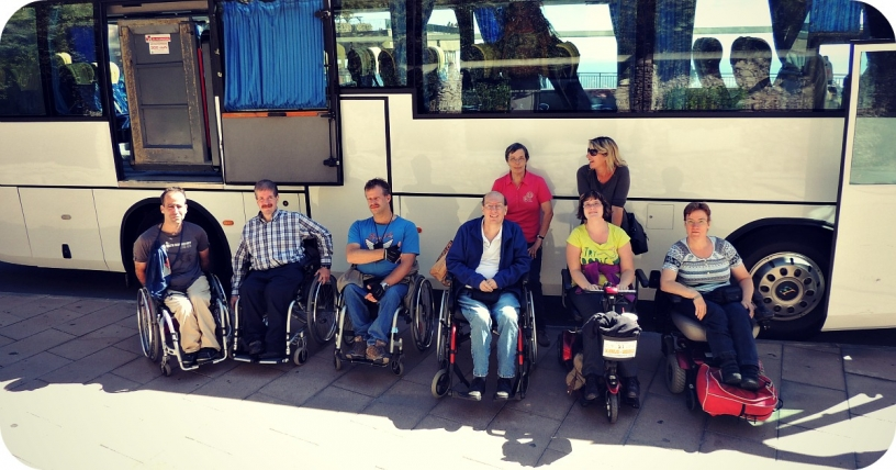 Group of travellers with mobility impairments
