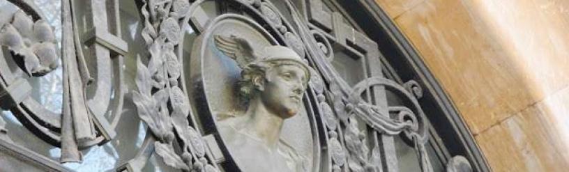 Ehemalige Zentralbank, Hermes Skulptur in Barcelona