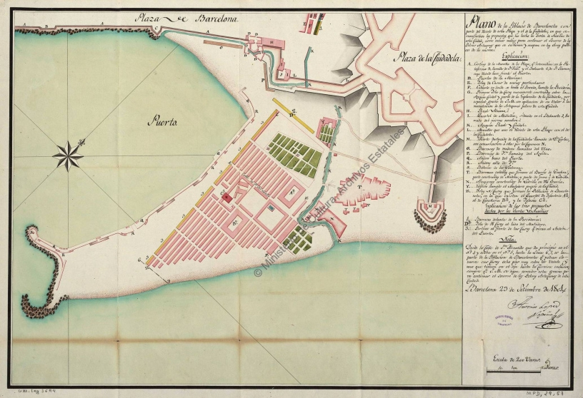 Old map of Barceloneta district