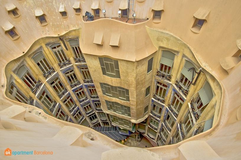 Techo de La Pedrera o Casa Milá de Gaudí en Barcelona