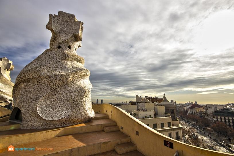 Azotea de La Pedrera o Casa Milá de Gaudí en Barcelona
